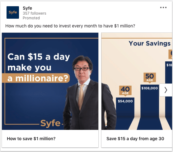 Syfe ads on becoming a millionaire