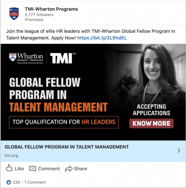 TMI - Wharton Programs ads on Global Fellow Program in Talent Management