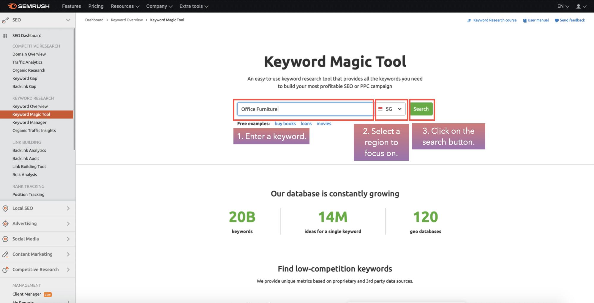 enter keyword in keyword magic tool in semrush