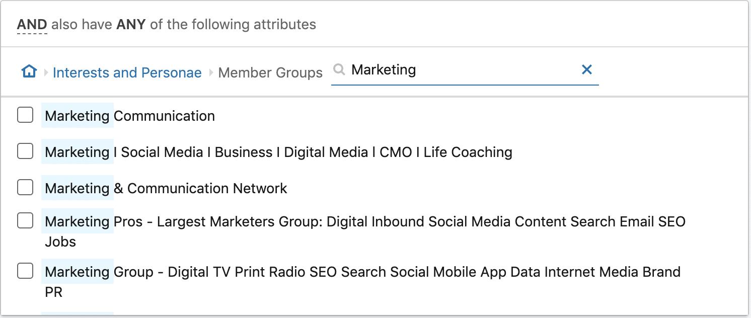 linkedin ads top marketing groups