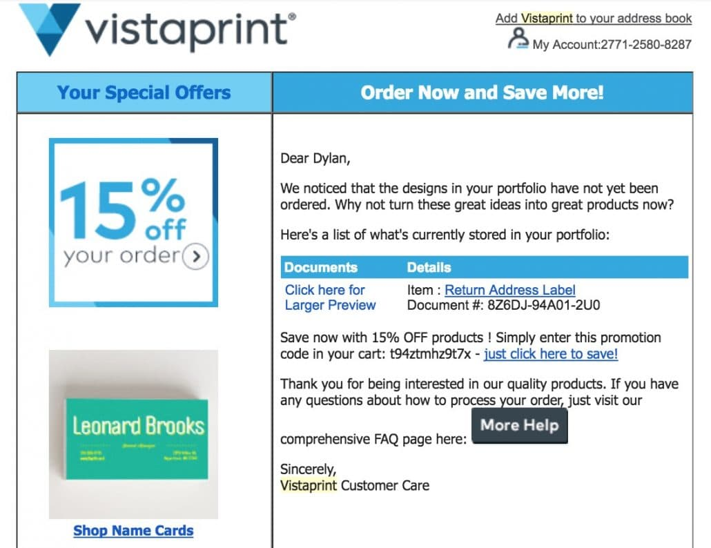 Vistaprint transactional email with cross-selling