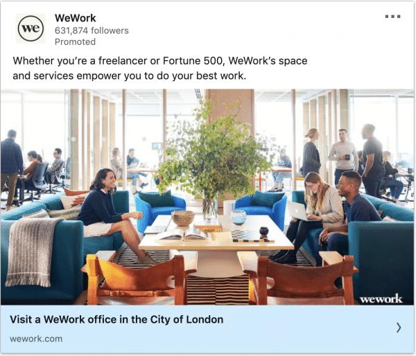 WeWork ads on freelancer or Fortune 500