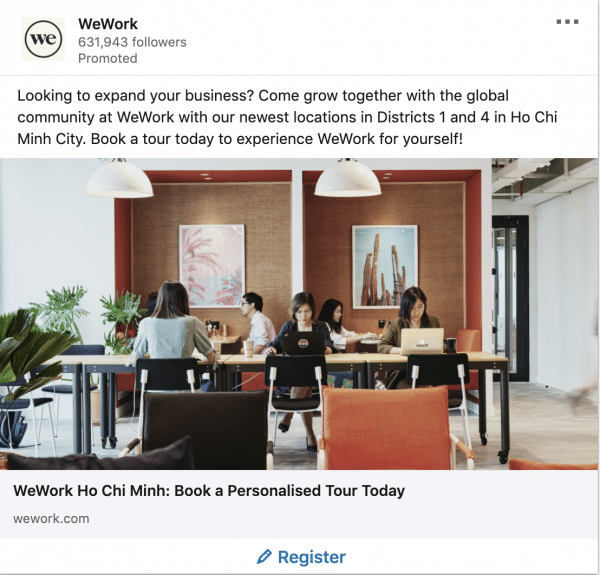 WeWork ads on business expansion