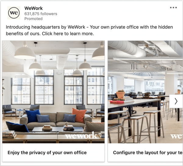 WeWork ads on headquarters by WeWork