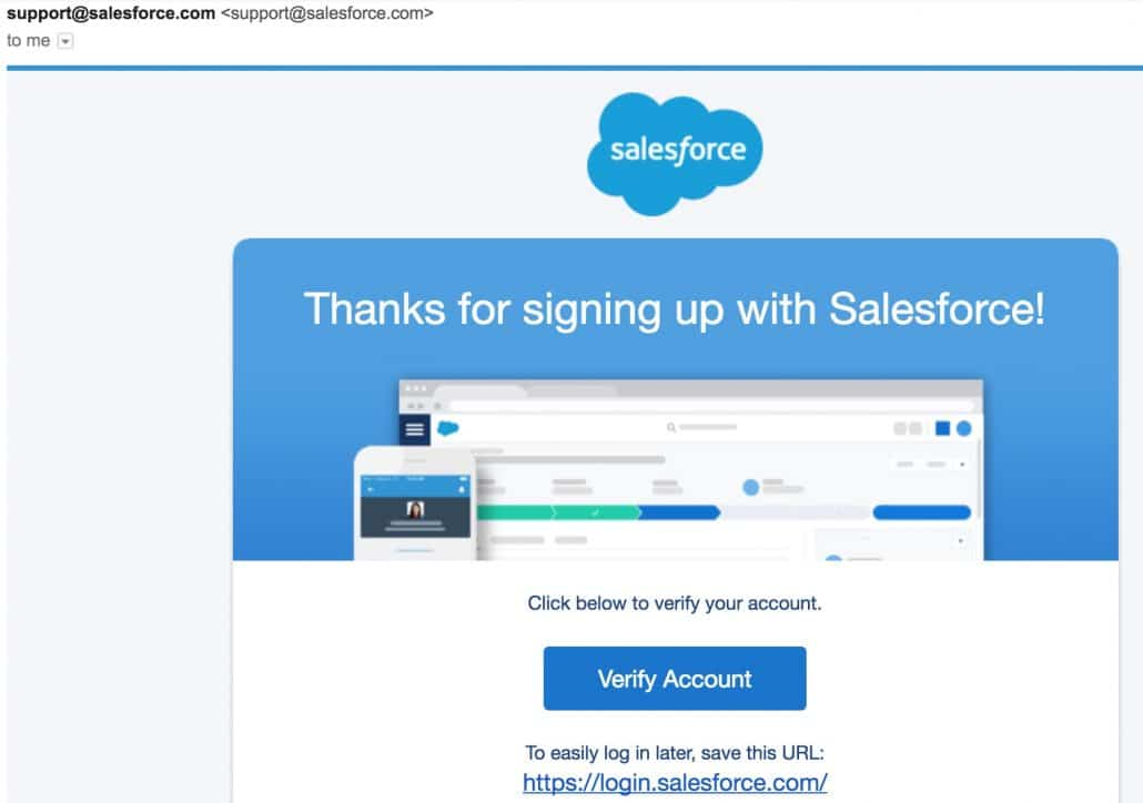 SalesForce Free Trial Welcome Email