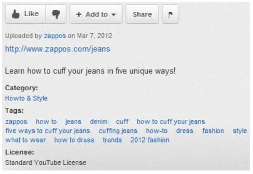 Zappos Youtube Example