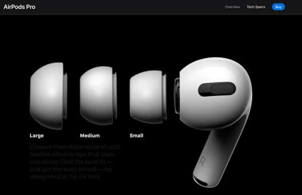 interactive elements in Apple Airpods Pro website