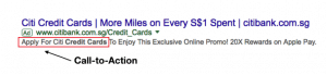 example of a call to action shown in an serp