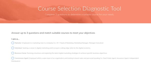 course selection diagnostic tool