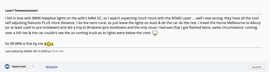 Snapshot of discussions on forum about BMW's laserlight
