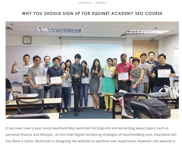 external reviews of Equinet Academy SEO course