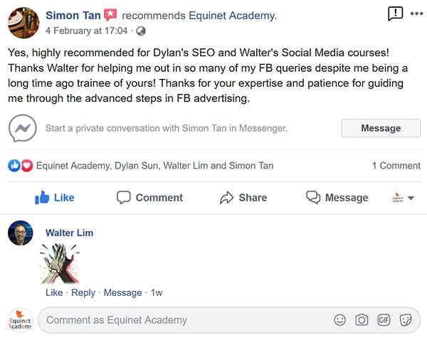 Equinet Academy's Facebook reviews