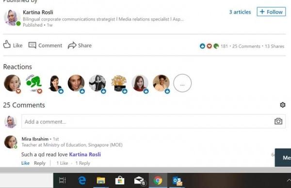 LinkedIn Engagement Kartina Rosli