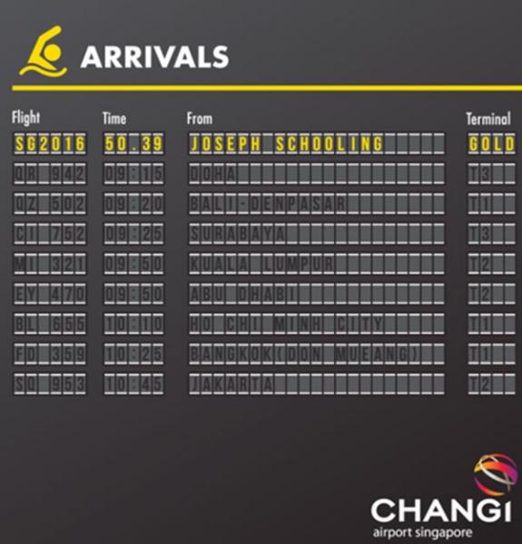 Changi Airport newsjacking on Joseph Schooling's Olympic Win