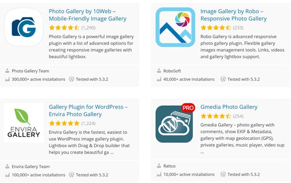 sample photo galleries of WordPress