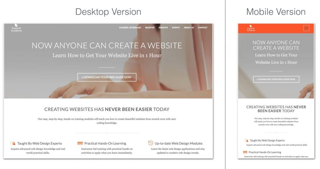 Desktop Vs Mobile Responsive Versions